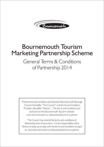 Bournemouth Tourism Partnership Terms & Conditions 2014