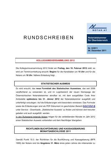 RUNDSCHREIBEN - Österreichische Notariatskammer