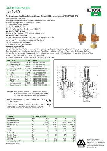 Sicherheitsventile Typ 06472 - HENNLICH GmbH & Co KG