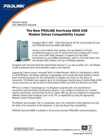 Hurricane 8600 ADSL USB modem - PROLiNK
