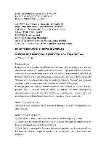 Teoría y Análisis Literarios II - Facultad de Ciencias Humanas