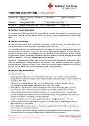 POSITION DESCRIPTION – TEAM MEMBER - Australian Red Cross