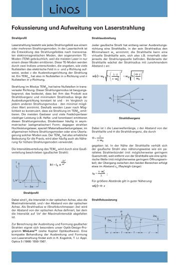 Fokussierung und Aufweitung von Laserstrahlung, Linos