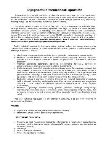 Dijagnostika treniranosti sportista - Pokrajinski zavod za sport i ...