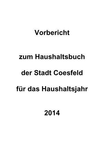 Vorbericht zum Haushaltsbuch der Stadt Coesfeld für das ...