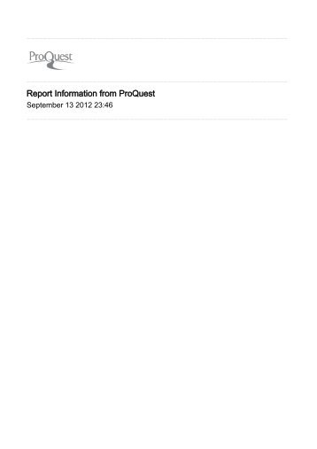 Report Information from ProQuest