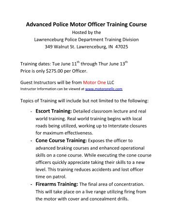 Advanced Police Motor Officer Training Course - Lawrenceburg ...