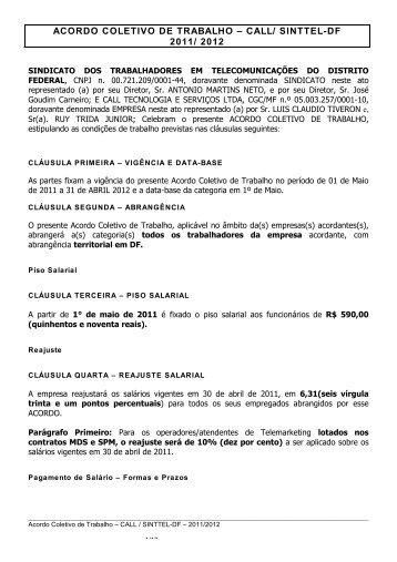 acordo coletivo de trabalho – call/ sinttel-df 2011/ 2012