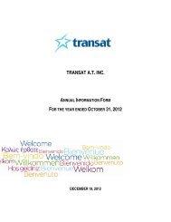 Annual information form - Transat, Inc.