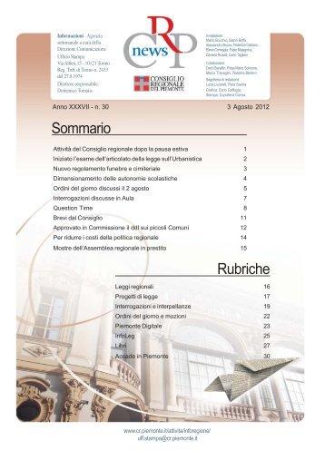 Sommario Rubriche - Consiglio regionale del Piemonte
