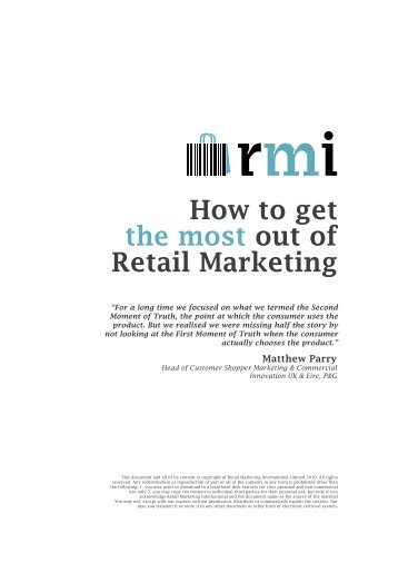 How to get the most out of Retail - RMI - Retail Marketing International