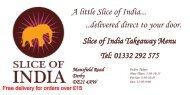Takeaway Menu - Slice of India