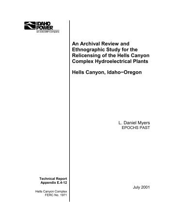 (E.4-12) An Archival Review and Ethnographic Study ... - Idaho Power