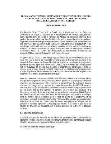 recommandations du s.. - association des societes d'electricite d ...