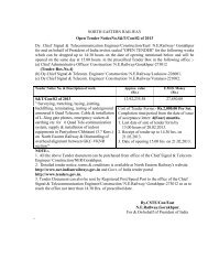 NORTH EASTERN RAILWAY Open Tender NoticeNo.S&T/Con/02 of ...