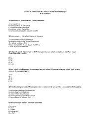 Esame di ammissione al Corso di Laurea in Biotecnologie A.A. 2010 ...