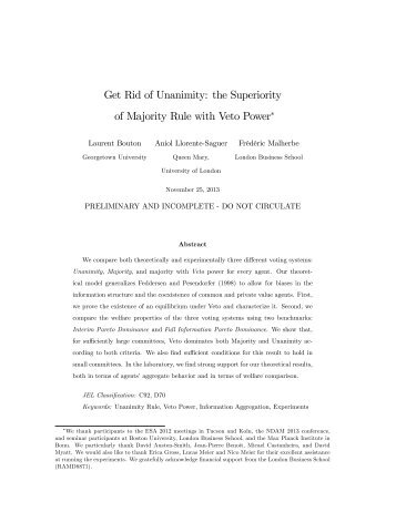 Get Rid of Unanimity: the Superiority of Majority Rule with Veto Power!