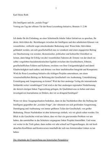 """1 Karl Heinz Roth Die Intelligenz und die """"soziale Frage"""" - Rosa ..."""