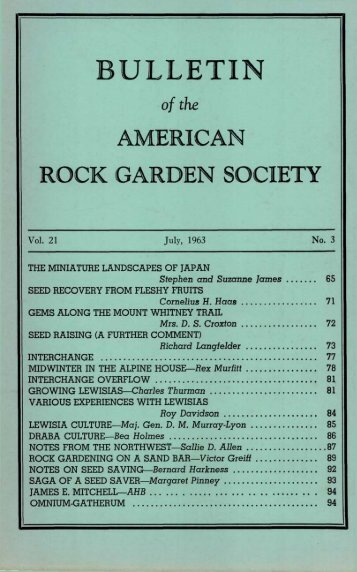 Bulletin - July 1963 - North American Rock Garden Society