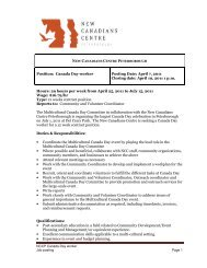 External Job posting – Canada Day worker 2011 - New Canadians ...