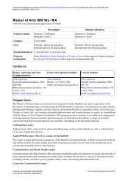 Master of Arts (MSTA) - MA - University of Southern Queensland