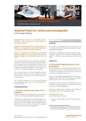 Skattefrihed for mindre personalegoder - Beierholm