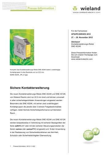 Sichere Kontakterweiterung - Wieland Electric