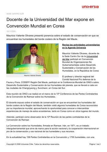Docente de la Universidad del Mar expone en Convención Mundial ...