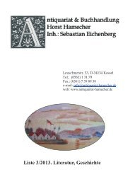 Liste 3/2013. Literatur, Geschichte - Antiquariat Horst Hamecher