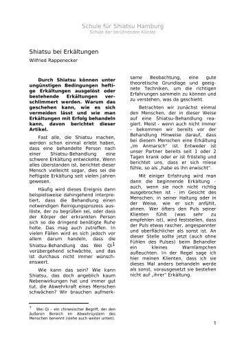 Shiatsu bei Erkältungen von Wilfried Rappenecker - Shiatsu-Netz
