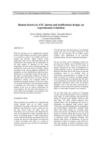 human factors and atc Proquest document link abstract: this article provides a critical review of research pertaining to the measurement of human factors (hf) issues in current and future air traffic control (atc) human factors research and boredom will become more significant.
