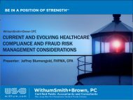 CURRENT AND EVOLVING HEALTHCARE ... - Withum