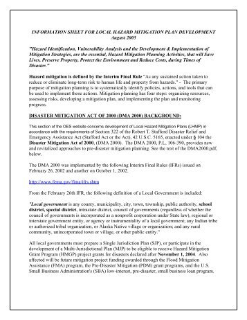 information sheet for local hazard mitigation plan development