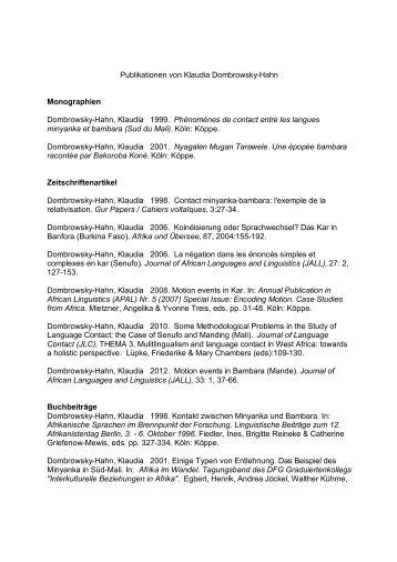 Publikationen von Klaudia Dombrowsky-Hahn Monographien ...