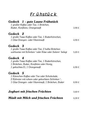 Speisekarte vom Café Funsch als PDF