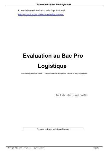 Evaluation au Bac Pro Logistique - Economie et Gestion au lycée ...