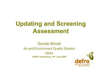 Updating and Screening Assessment Process - IAPSC