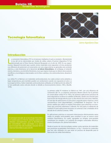 Tecnología fotovoltaica - Instituto de Investigaciones Eléctricas