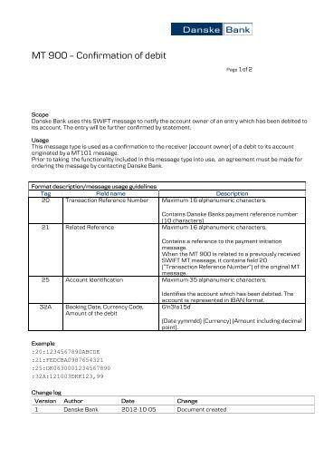 MT 940 Customer Statement Message (FINSTA format) - Danske Bank