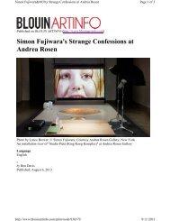 Simon Fujiwara's Strange Confessions at Andrea Rosen - Ben Davis