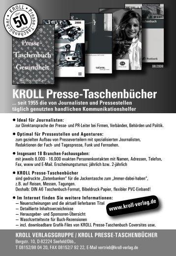 KROLL Presse-Taschenbuch Verlagsprogramm