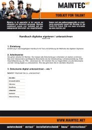 Handbuch digitales signieren / unterzeichnen - Maintec