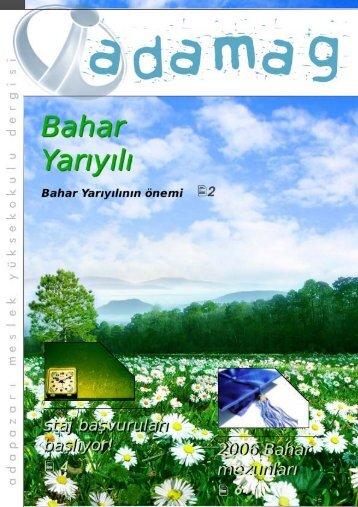 ADAMAG - Subat 2006 - Adapazarı Meslek Yüksekokulu - Sakarya ...