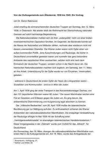 Von der Kultusgemeinde zum Ältestenrat, 1938 bis 1945 - Misrachi ...