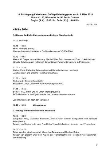 4.März 2014 - Fachbereich Veterinärmedizin an der Freien ...