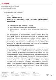 toyota deutschland gmbh toyota auf der iaa 2013 messeauftritt in ...