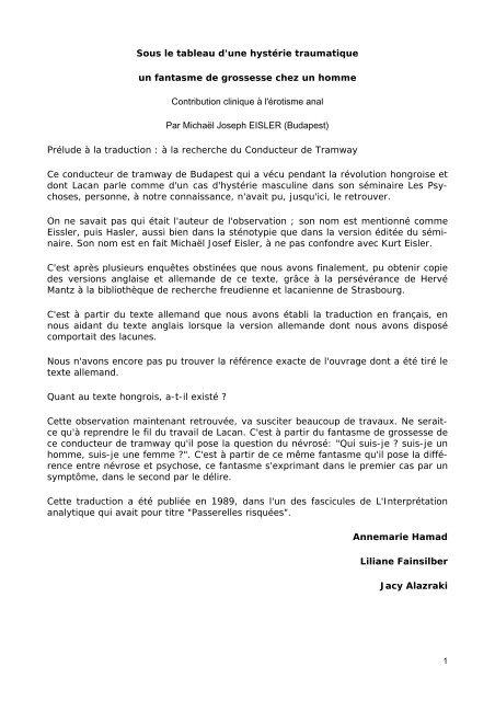 le cas de Joseph Eisler.pdf - Forums du Champ Lacanien