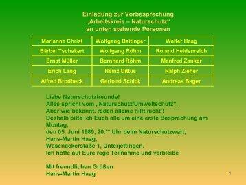 an unten stehende Personen - NaturSchutzGruppe Jettingen