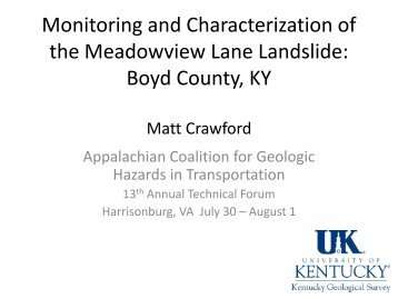 Monitoring and Characterization of the Meadowview Lane ... - Marshall