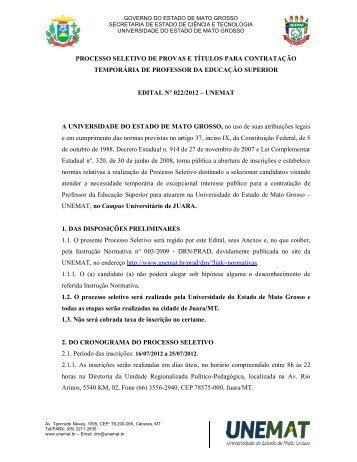 Edital nº 22/2012 - Unemat